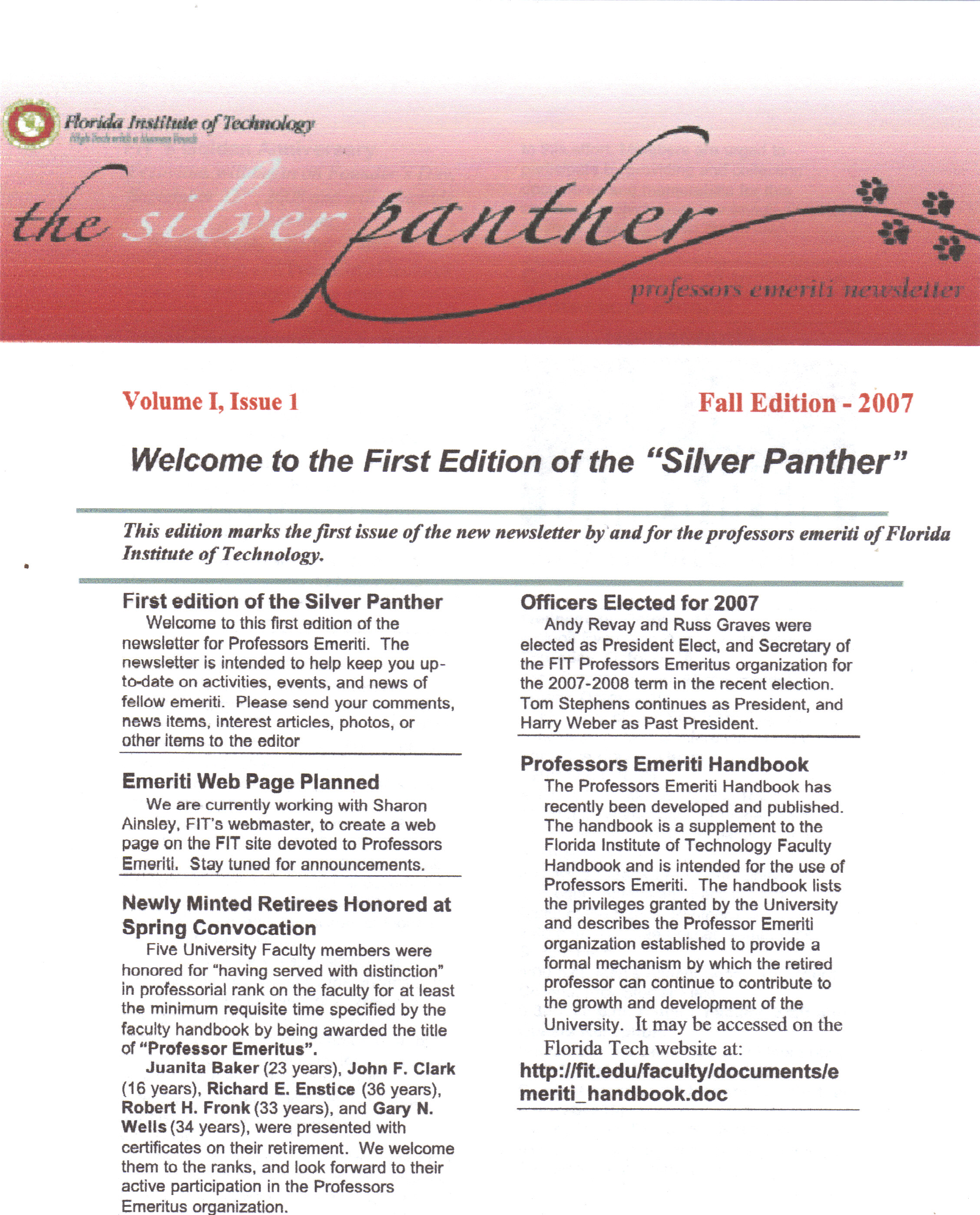 Professors Emeriti Newsletter
