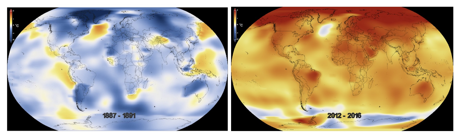 NASA Five-Year Global Temperature Anomalies 1887-1891 (Left) and 2012-2016 (Right).