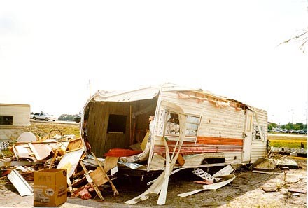 Motorhome damaged by hurricane