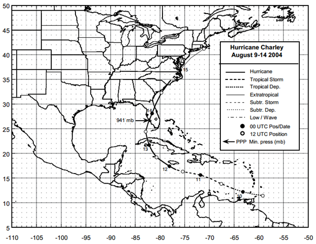 Figure: Best track positions for Hurricane Charley, 9-14 August 2004 (Source: NOAA1)