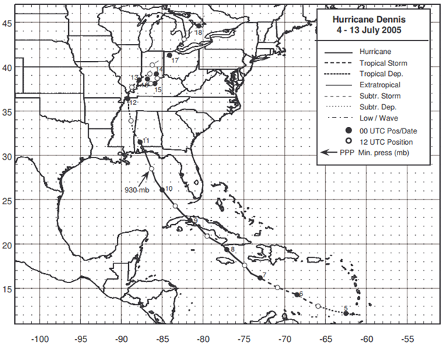 Figure: Best track positions for Hurricane Dennis, 4-13 July 2005 (Source: NOAA)