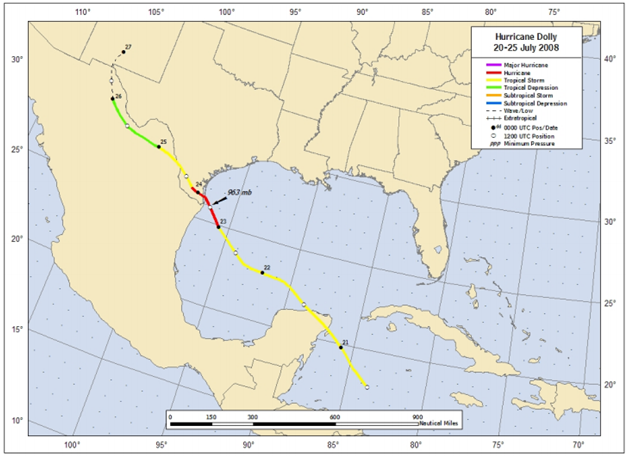 Figure: Best track positions for Hurricane Dolly, 20-25 July 2008 (Source: NOAA)