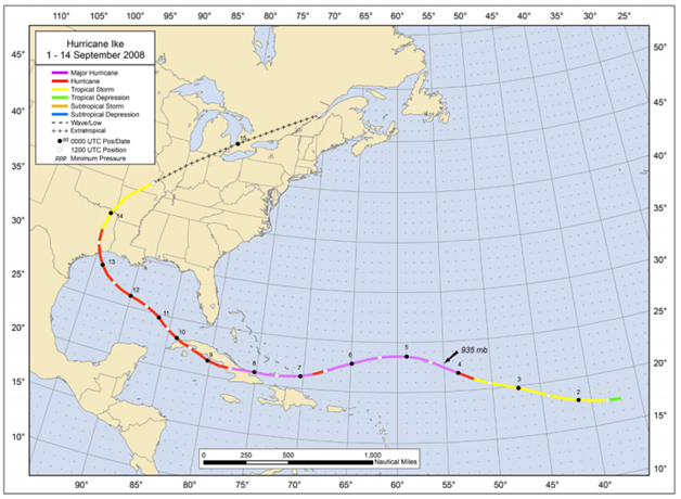 Figure: Best track positions for Hurricane Ike, 1 – 14 September 2008 (Source: NOAA)