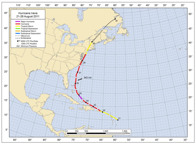 Figure: Best track positions for Hurricane Irene, 21 -28 August 2011 (Source: NOAA)