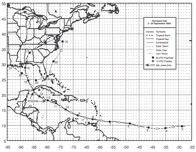 Figure: Best track positions for Hurricane Ivan, 2-24 September 2004 (Source: NOAA)