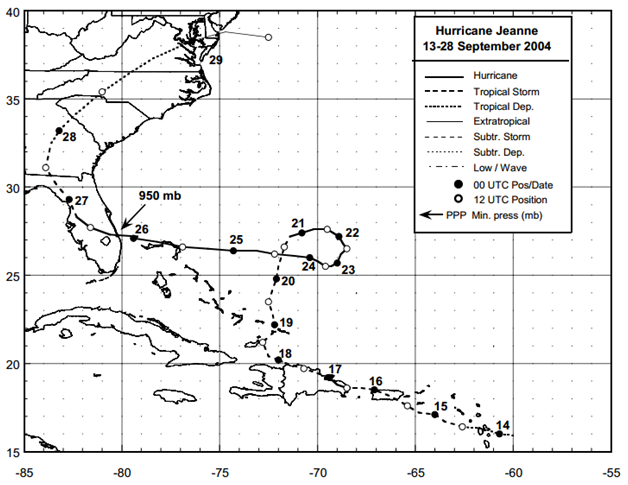 Figure: Best track positions for Hurricane Jeanne, 13-28 September 2004 (Source: NOAA)